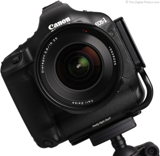 Zeiss 15mm f/2.8 Distagon T* ZE Lens on Canon EOS 1Ds Mark III - Front View