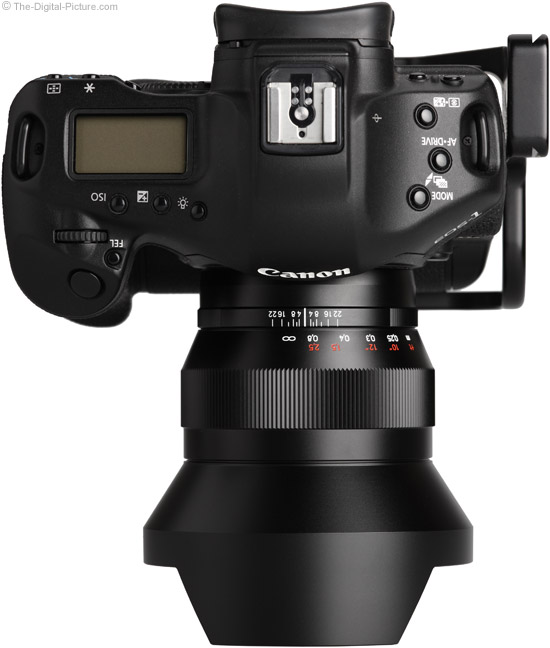 Zeiss 15mm f/2.8 Distagon T* ZE Lens on Canon EOS 1Ds Mark III - Top View