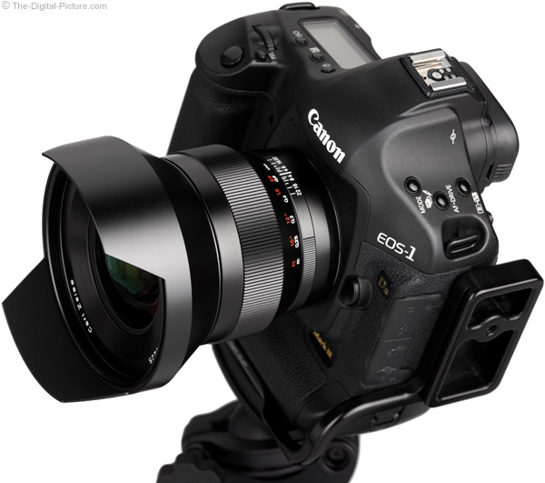 Zeiss 15mm f/2.8 Distagon T* ZE Lens on Canon EOS 1Ds Mark III - Side View