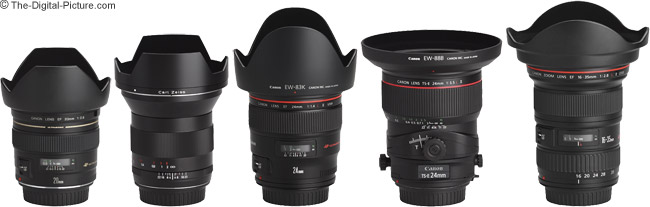Canon EF 20mm f/2.8 USM Lens and Other Wide Angle Lenses with Hoods Installed