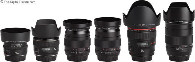 Zeiss 28mm f/2.0 Distagon T* ZE Lens Compared to Other 35mm Lenses with Hoods