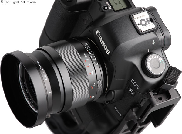 Zeiss 28mm f/2.0 Distagon T* ZE Lens Angled View on Canon EOS 5D Mark II