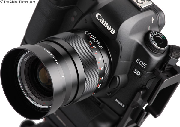 Zeiss ZE 35 f/2 Angled View with Hood