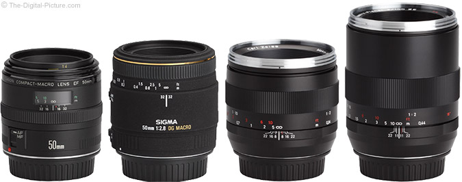 Zeiss 50mm f/2.0 Makro-Planar T* ZE Lens Compared to Similar Lenses