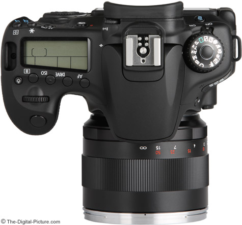 Zeiss 85mm f/1.4 ZE Planar T* Lens on Canon EOS 60D - Top View