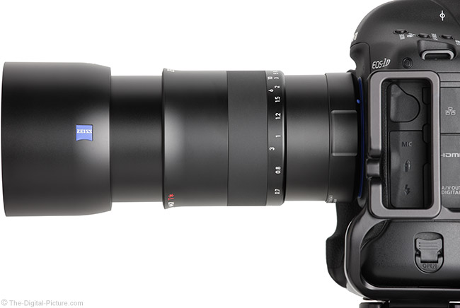 Zeiss Milvus 100mm f/2M Lens Side View with Hood