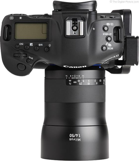 Zeiss Milvus 50mm f/1.4 Lens Top View with Hood