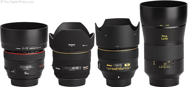 Zeiss Otus 55mm f/1.4 Distagon T* Lens Compared to Similar Lenses with Hoods