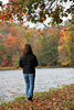Girl Walking by Lake Picture