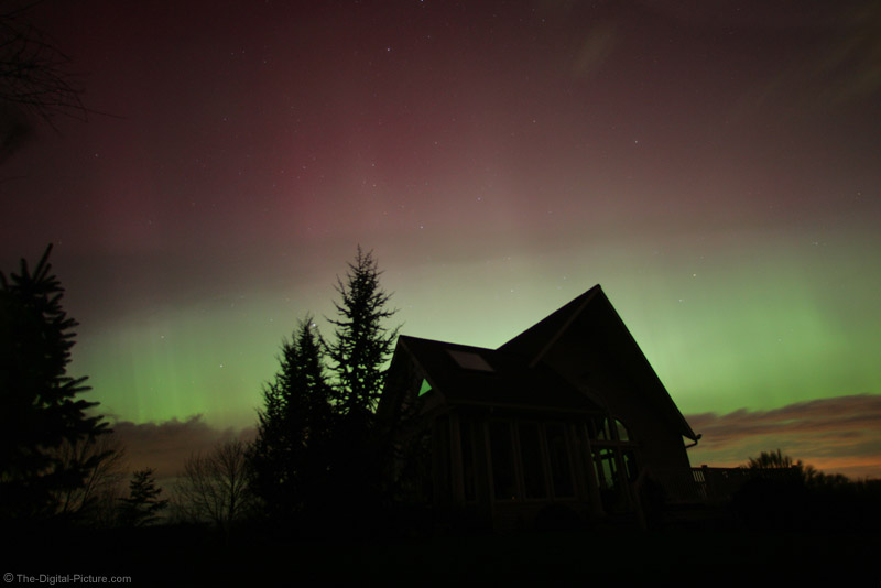 House Backlit by Northern Lights Picture