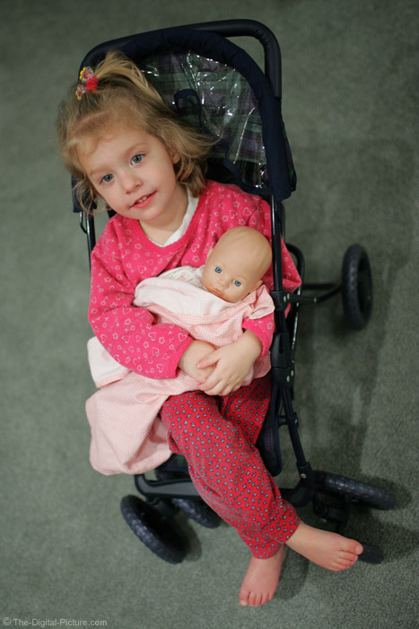 Girl With Baby Doll in Stroller Picture