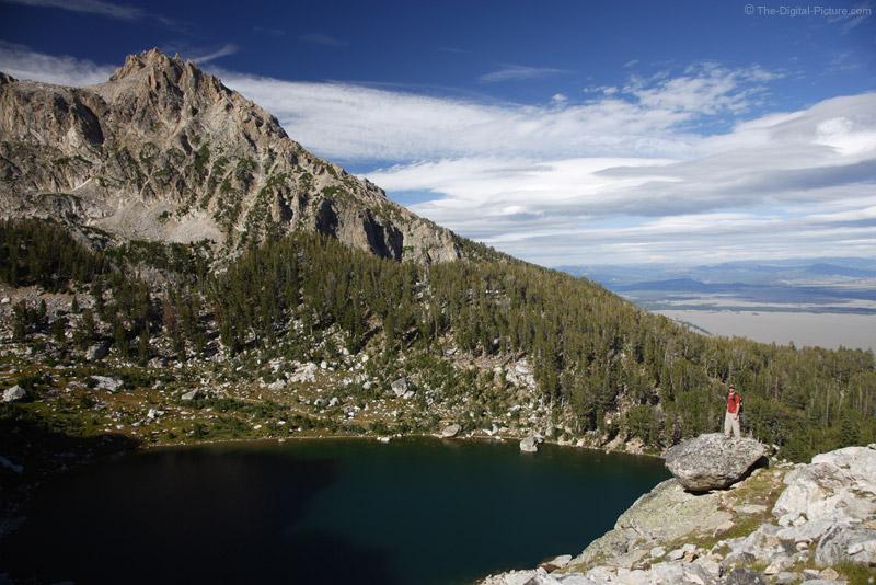 Amphitheatre Lake, Grand Teton and a Hiker