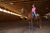 Horse and Rider in Indoor Riding Facility