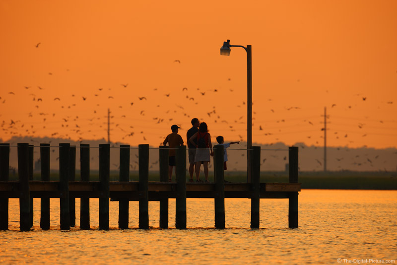 Family on Bay Dock - Chincoteague Island Sunset