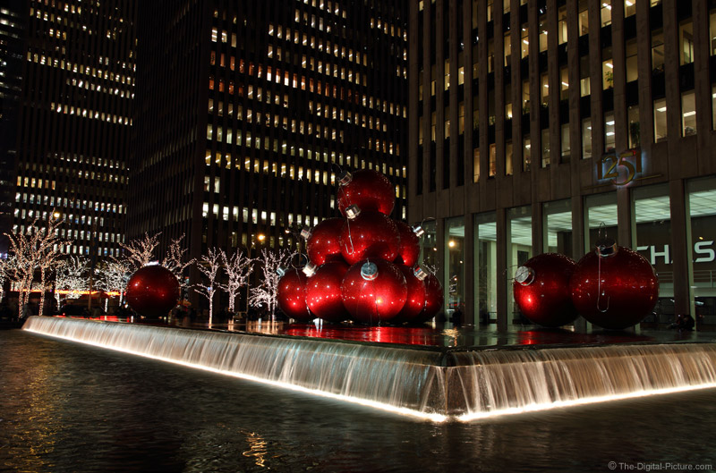 Christmas Balls in the Fountain