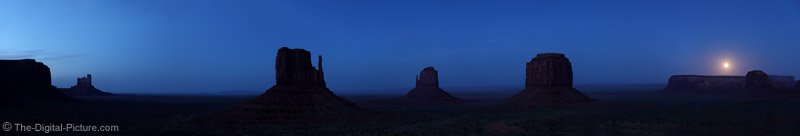 Sunset and Moonrise Over Monument Valley