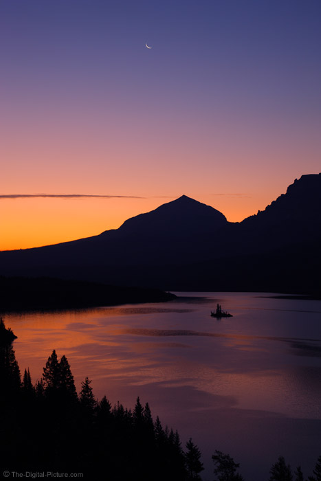 Moon Over St Mary Lake, Glacier National Park