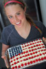 Holding the American Flag Cake