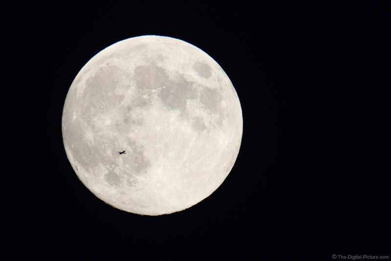 Airplane Over Harvest Moon at 1680mm