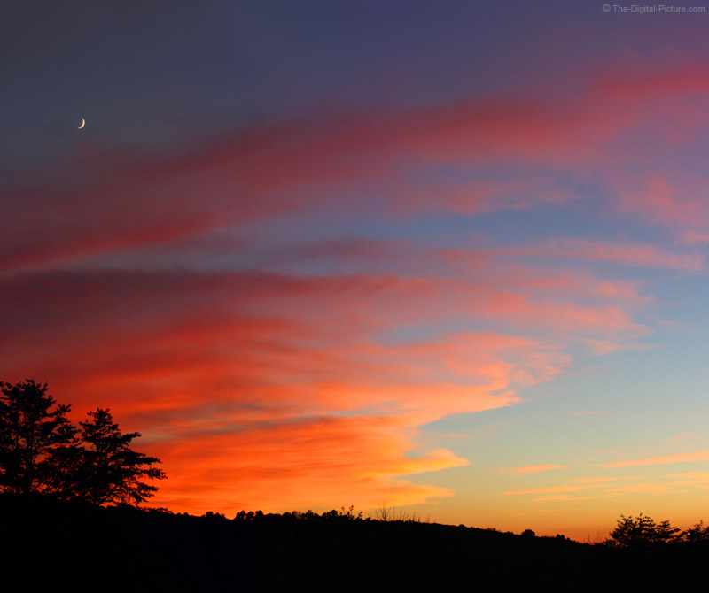 Amazing Sunset with a Crescent Moon