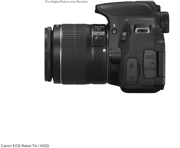 Canon EOS Rebel T4i / 650D Side View Comparison
