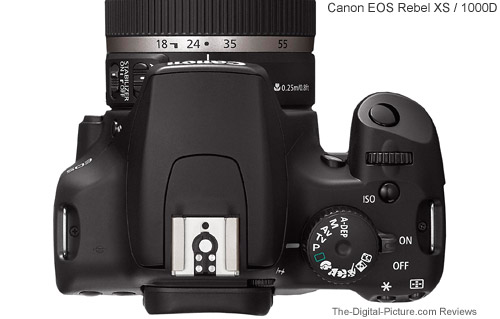 Canon EOS Rebel XS / 1000D Top View Comparison