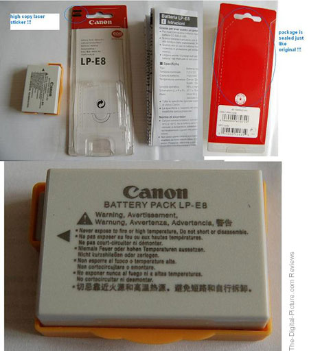 Counterfeit Canon LP-E8 Battery Pack
