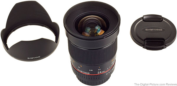 Samyang 24mm f/1.4 ED AS UMC Lens, Hood, Cap