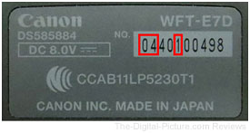 Canon WFT-E7A Serial Number