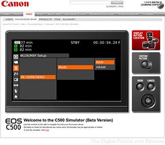 Cinema EOS C500 Digital Cinema Camera Menu Simulator