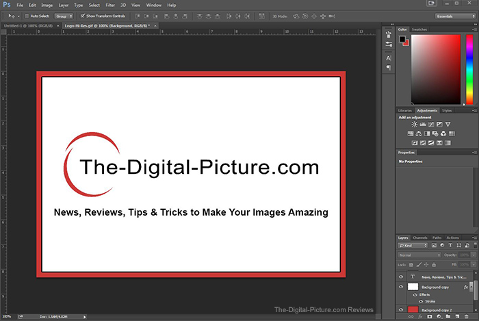 The Digital Picture.com Splash Screen in PS CC