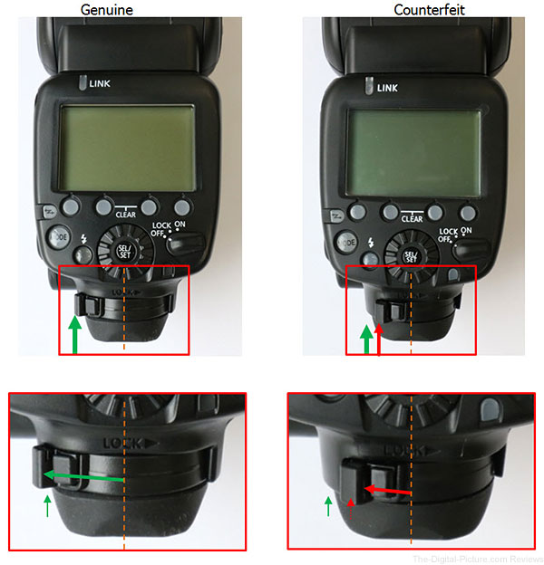 Canon Speedlite 600EX RT Counterfeit Foot Lock