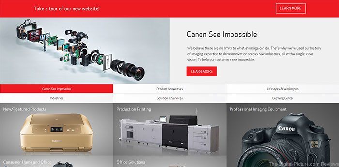 Canon U.S.A. Officially Unveils Newly Designed Website