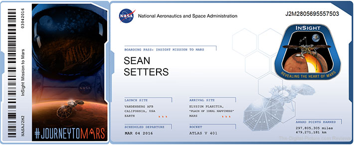 Mars InSight Boarding Pass