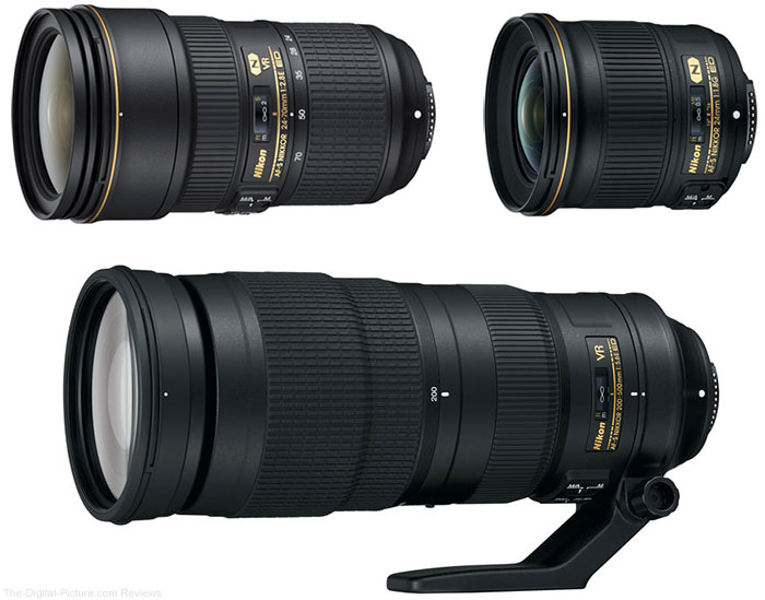 Nikon 24-70 f/2.8 VR, 200-500mm f/5.6 VR and 24mm f/1.8 Lenses