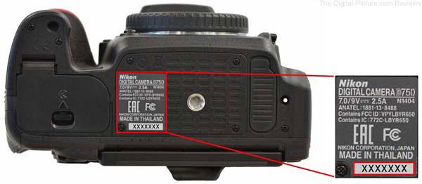 Nikon D750 Serial Number Location