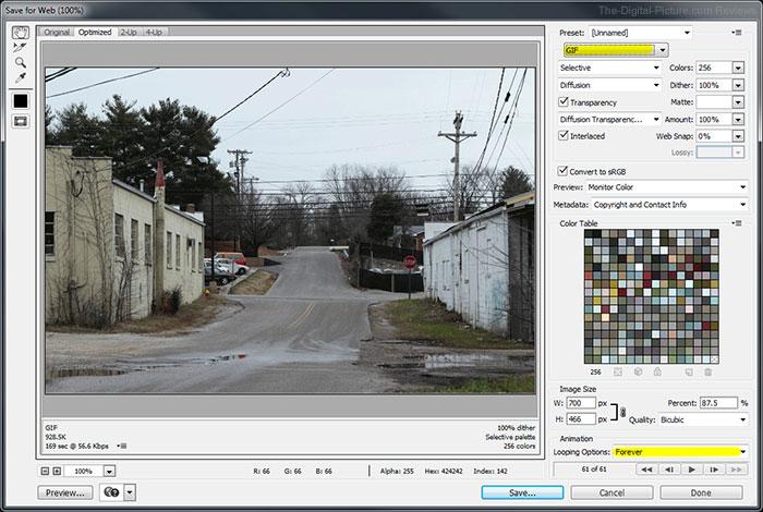 Photoshop CC Save for Web GIF