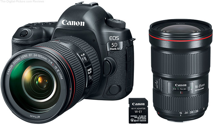 Canon EOS 5D Mark IV with EF 24-105mm f/4L IS II USM and EF 16-35mm f/2.8L III USM & Wi-Fi Adapter