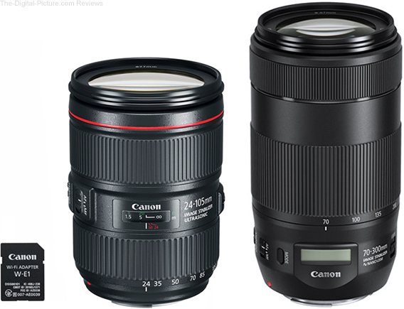 Where is the Canon W-E1 Wi-Fi Adapter and EF 24-105mm f/4L IS II Lens?