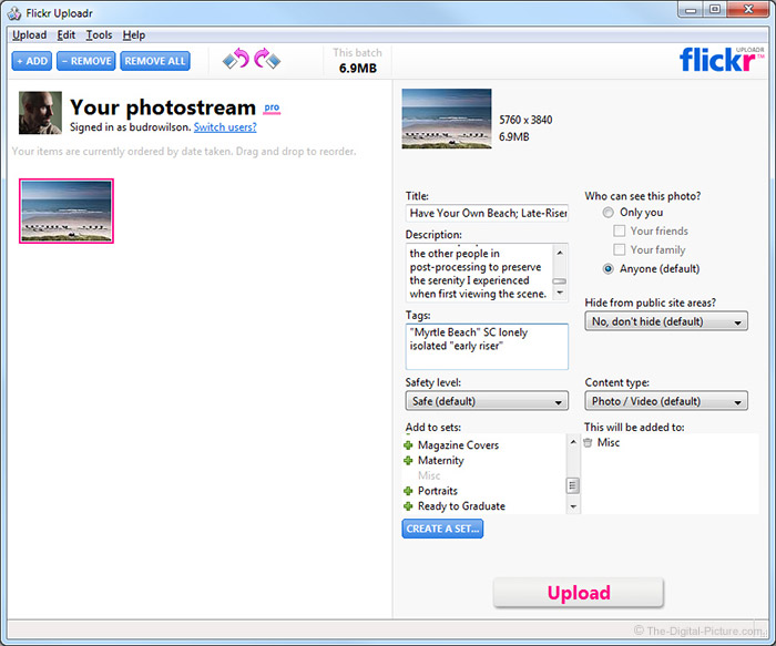 Flickr Uploadr Screenshot