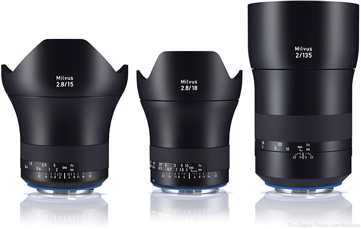 Zeiss Adds Three New Lenses to Milvus Lineup