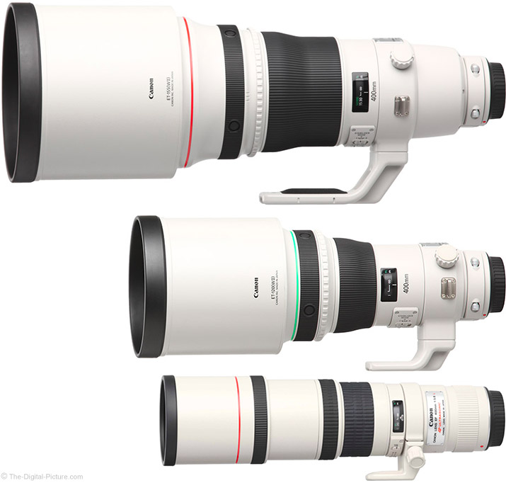 Canon 400mm Prime Lens Comparison (with Hoods Extended)