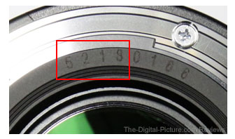 Canon EF 50mm f 1.4 USM Serial Number Identification