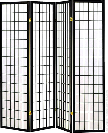 Coaster Home Furnishings Oriental Shoji 4 Panel Folding Privacy Screen Room Divider