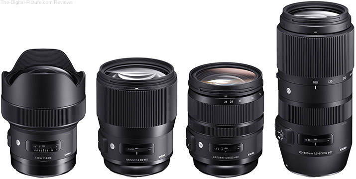 Sigma 14mm, 135mm, 24-70mm Art & 100-400 Contemporary Lenses