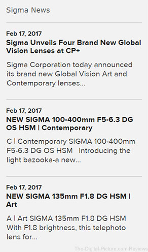 Sigma News on SigmaPhoto