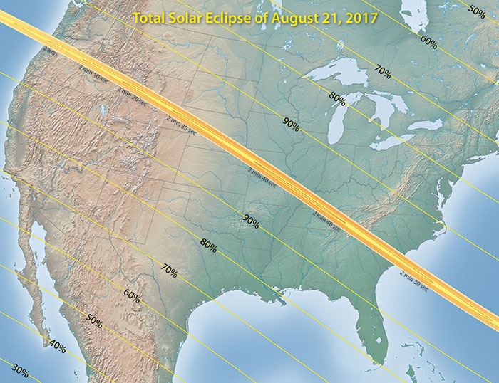 Solar Eclipse 2017 Percentages Map