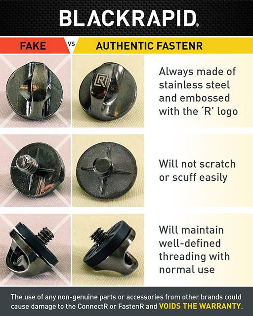 Black Rapid Counterfeit FR 3 FR 5 FastenR Warning