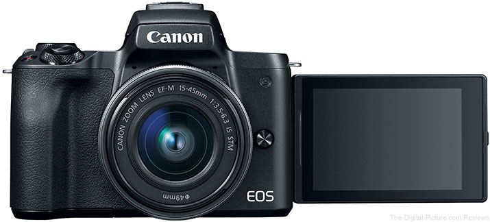 Canon EOS M50 Front with LCD Open