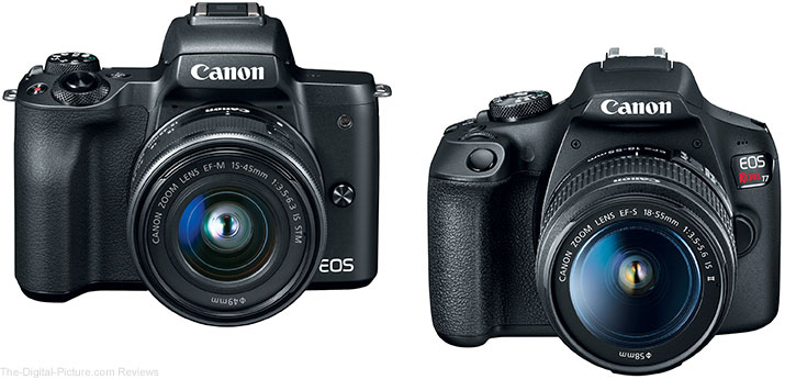 Canon EOS M50 MILC and EOS Rebel T7 DSLR Camera